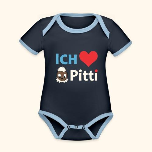 Pittiplatsch Ich liebe Pitti auf dunkel (blau/crem - Baby Bio-Kurzarm-Kontrastbody