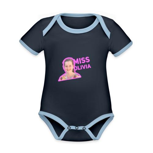 MissOlivia kindermerch - Baby contrasterend bio-rompertje met korte mouwen