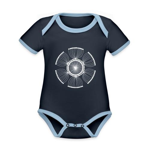 White Poppy Seed Mandala II - Organic Baby Contrasting Bodysuit
