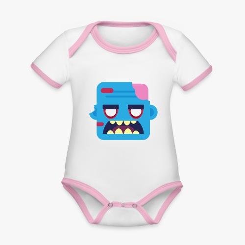 Mini Monsters - Zombob - Kortærmet økologisk babybody i kontrastfarver