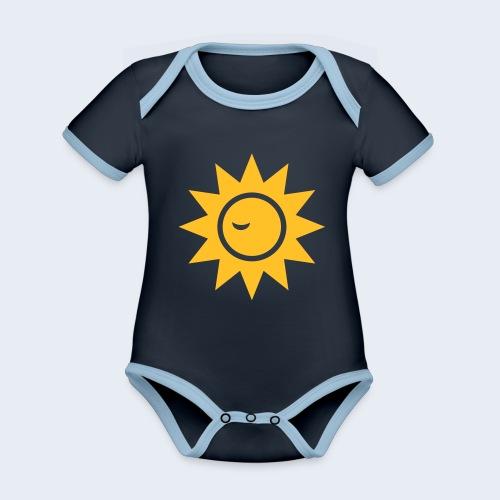 Winky Sun - Baby contrasterend bio-rompertje met korte mouwen