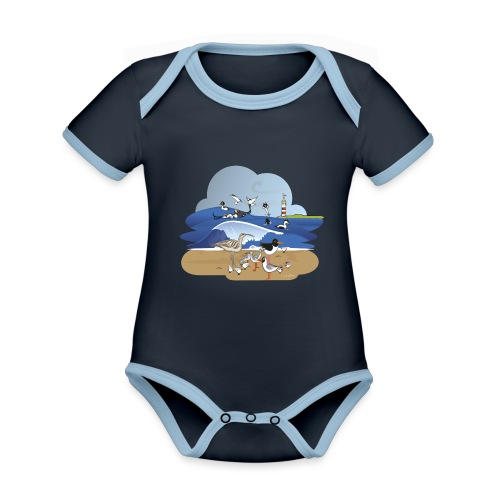 See... birds on the shore - Organic Baby Contrasting Bodysuit