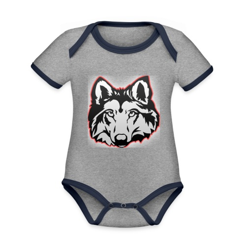 Wolfie (Red) - Organic Baby Contrasting Bodysuit