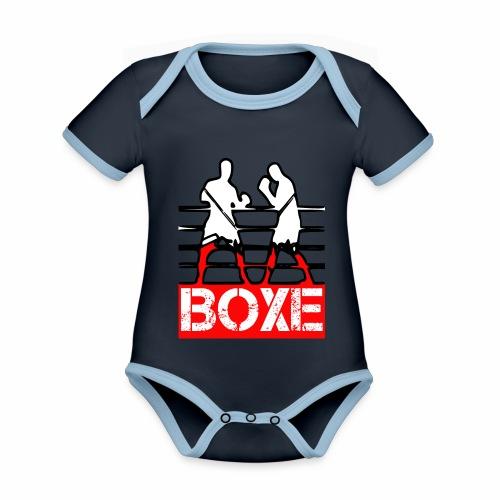 BOXE - Body da neonato a manica corta, ecologico e in contrasto cromatico