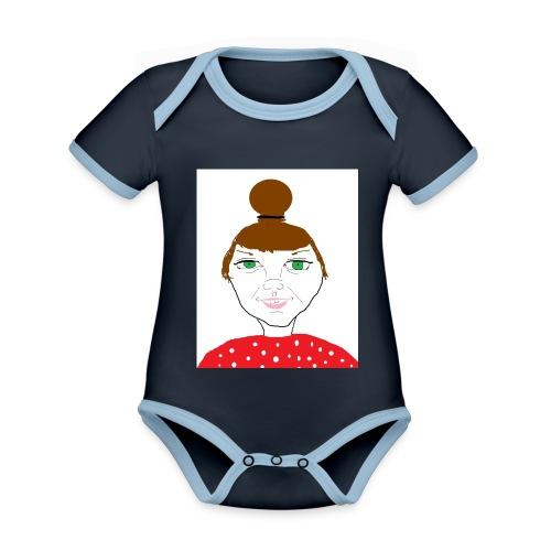 Bonny with a bun - Ekologisk kontrastfärgad kortärmad babybody