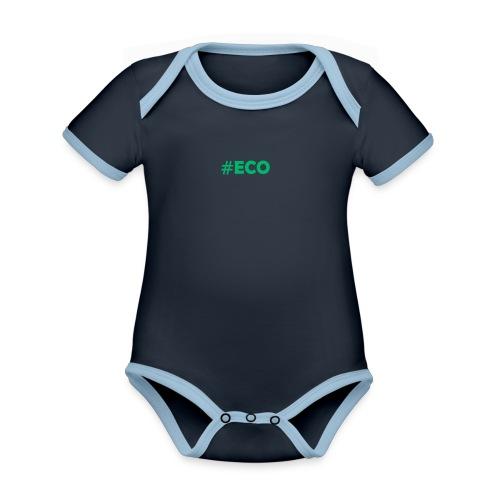 #ECO Blue-Green - Baby Bio-Kurzarm-Kontrastbody