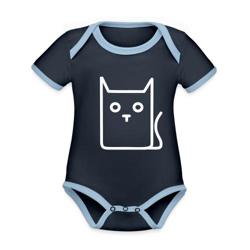 Katze Weiß - Baby Bio-Kurzarm-Kontrastbody