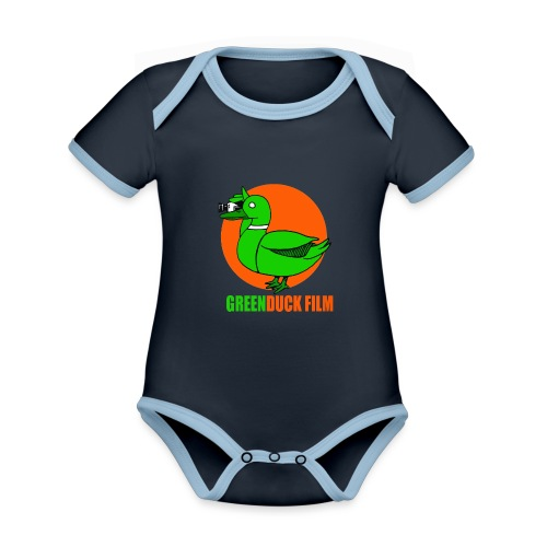 Greenduck Film Orange Sun Logo - Kortærmet økologisk babybody i kontrastfarver