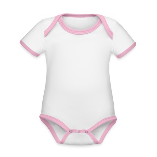 Level 1 Human - Wit - Baby contrasterend bio-rompertje met korte mouwen
