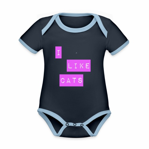 I like cats - Organic Baby Contrasting Bodysuit