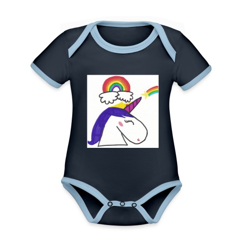 Unicorno arcobaleno - Body da neonato a manica corta, ecologico e in contrasto cromatico