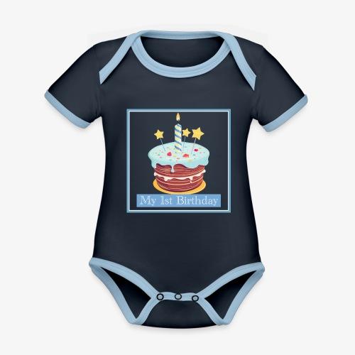 Birthday - Body da neonato a manica corta, ecologico e in contrasto cromatico