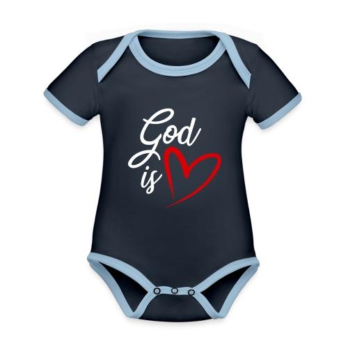 God is love 2B - Body da neonato a manica corta, ecologico e in contrasto cromatico