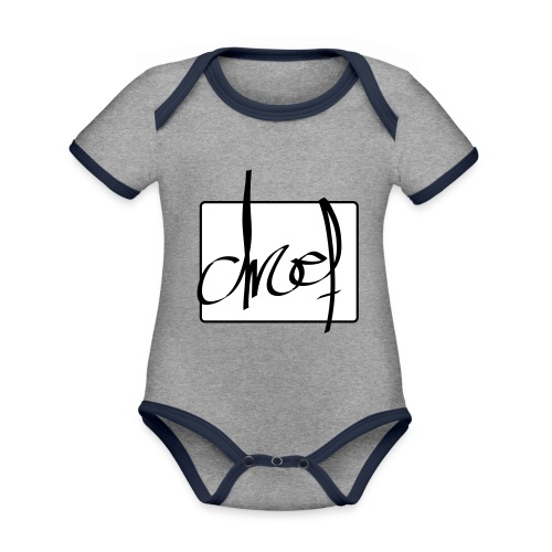Droef.Gent logo zwart - Baby contrasterend bio-rompertje met korte mouwen