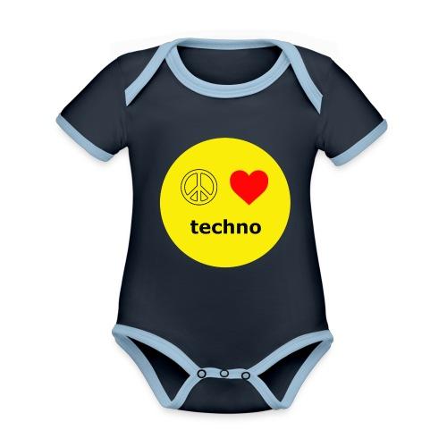 paz amor techno - Body contraste para bebé de tejido orgánico