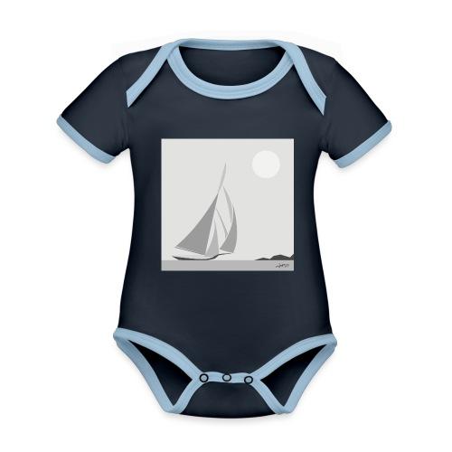 sailing ship - Organic Baby Contrasting Bodysuit