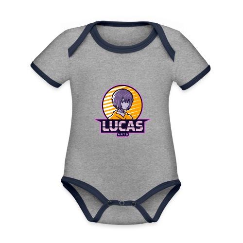 Lucas Artzzz... - Baby contrasterend bio-rompertje met korte mouwen