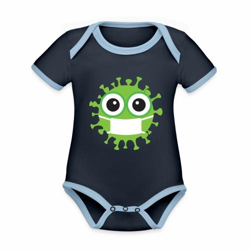 Uśmiechnij się pod maską - Ekologiczne body niemowlęce z krótkim rękawem i kontrastowymi lamówkami