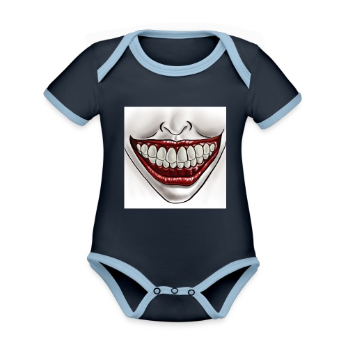 Smile Maske - Baby Bio-Kurzarm-Kontrastbody