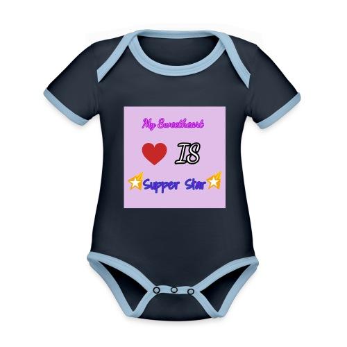 my sweetheart - Ekologisk kontrastfärgad kortärmad babybody