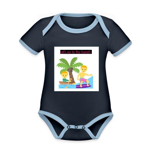 beach - Ekologisk kontrastfärgad kortärmad babybody