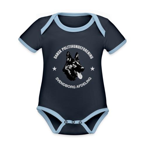 Svendborg PH hvid skrift - Kortærmet økologisk babybody i kontrastfarver