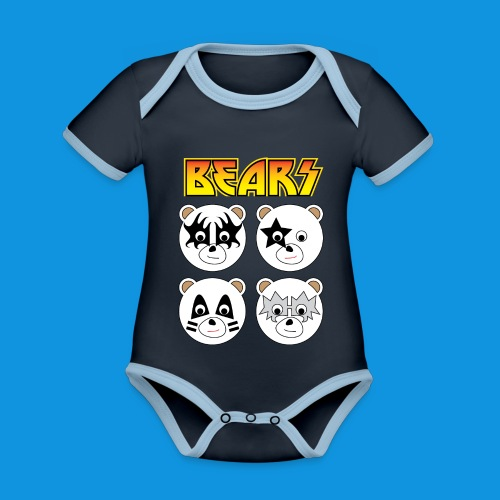 Kiss Bears square.png - Organic Baby Contrasting Bodysuit