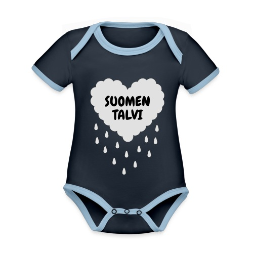 Suomen talvi - Vauvan kontrastivärinen, lyhythihainen luomu-body