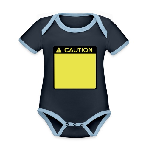 Caution Sign (2 colour) - Organic Baby Contrasting Bodysuit
