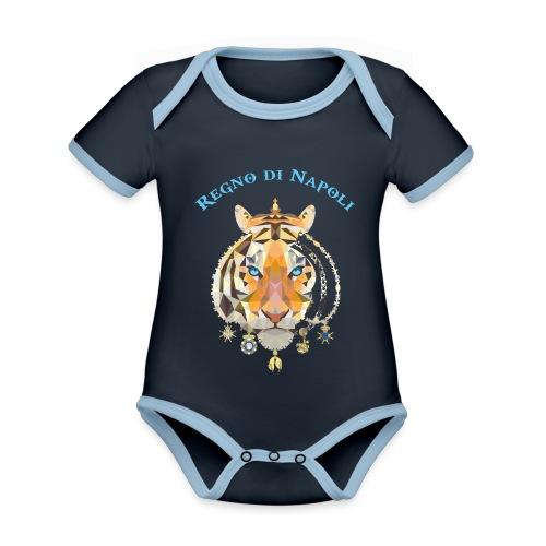 regno di napoli tigre - Body da neonato a manica corta, ecologico e in contrasto cromatico