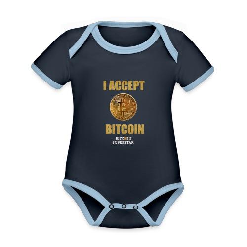 I accept bitcoin - Body da neonato a manica corta, ecologico e in contrasto cromatico