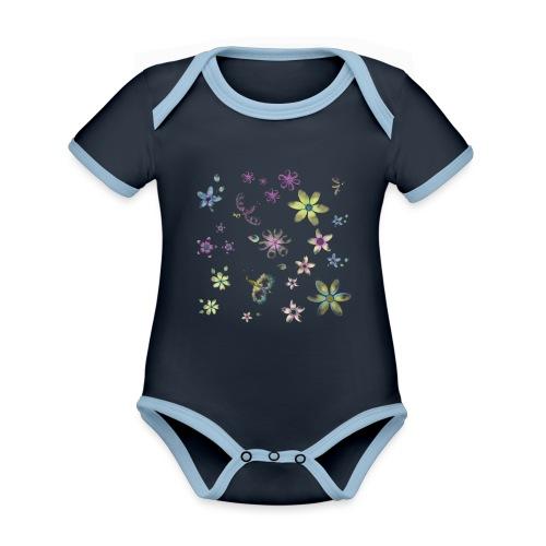 flowers and butterflies - Body da neonato a manica corta, ecologico e in contrasto cromatico