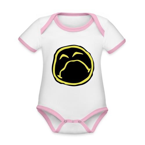 Droef Emoticon - Baby contrasterend bio-rompertje met korte mouwen