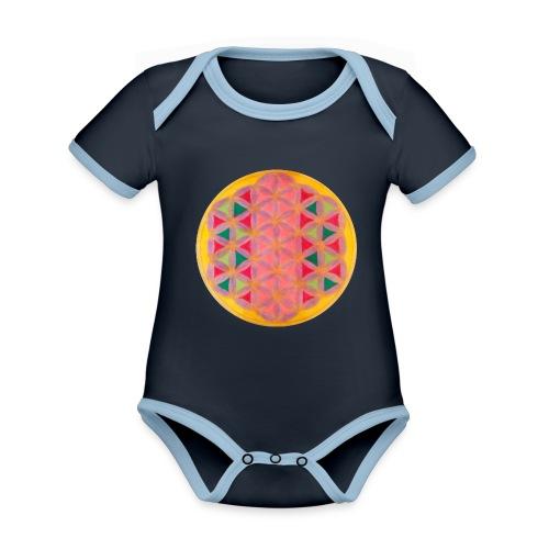 Blume des Lebens - Baby Bio-Kurzarm-Kontrastbody