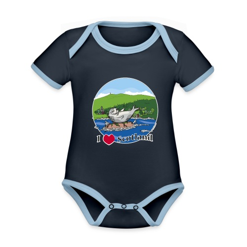 I heart Scotland - Sutherland & Caithness - Organic Baby Contrasting Bodysuit