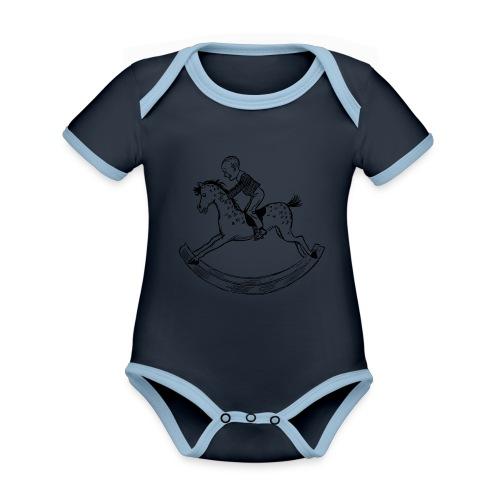 konik na biegunach - Ekologiczne body niemowlęce z krótkim rękawem i kontrastowymi lamówkami