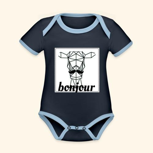 Bonjour - Baby contrasterend bio-rompertje met korte mouwen