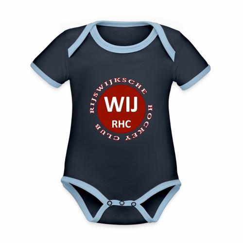 RIJSWIJKSCHE HOCKEY CLUB - Baby contrasterend bio-rompertje met korte mouwen