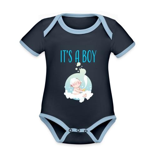 It's a Boy Badewanne. Witzige Umstandsmode T-Shirt - Baby Bio-Kurzarm-Kontrastbody