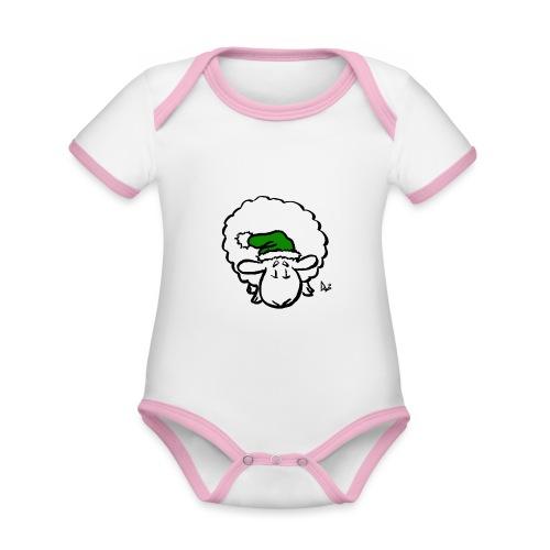 Santa Sheep (green) - Body Bébé bio contrasté manches courtes
