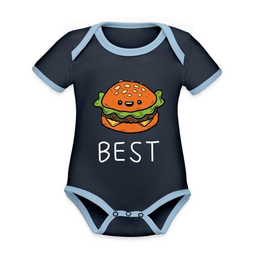 Beste Friends Burger und Pommes Partnerlook - Baby Bio-Kurzarm-Kontrastbody