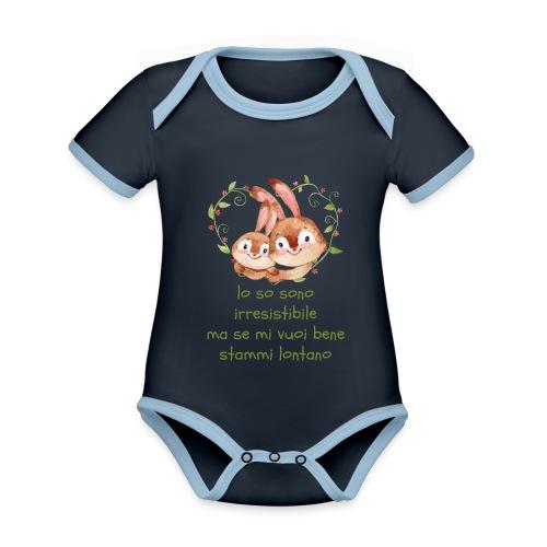 lo so irresistibile - Body da neonato a manica corta, ecologico e in contrasto cromatico