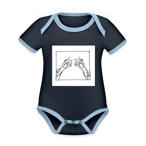 w14 oni - Ekologiczne body niemowlęce z krótkim rękawem i kontrastowymi lamówkami
