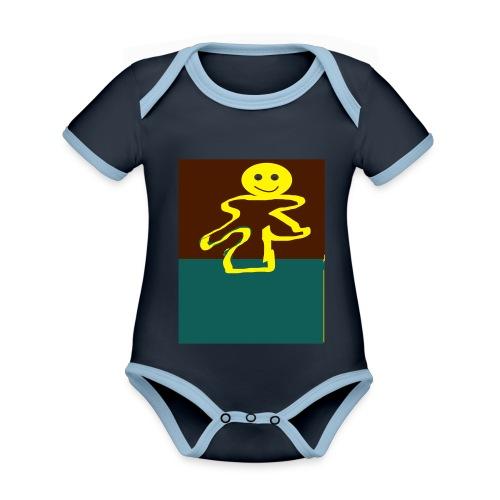 Glad mand - Kortærmet økologisk babybody i kontrastfarver