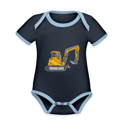 BAGGER, gelbe Baumaschine mit Schaufel und Ketten - Baby Bio-Kurzarm-Kontrastbody
