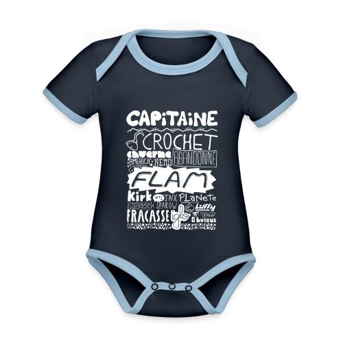 capitaine-blanc Tee shirts - Body Bébé bio contrasté manches courtes