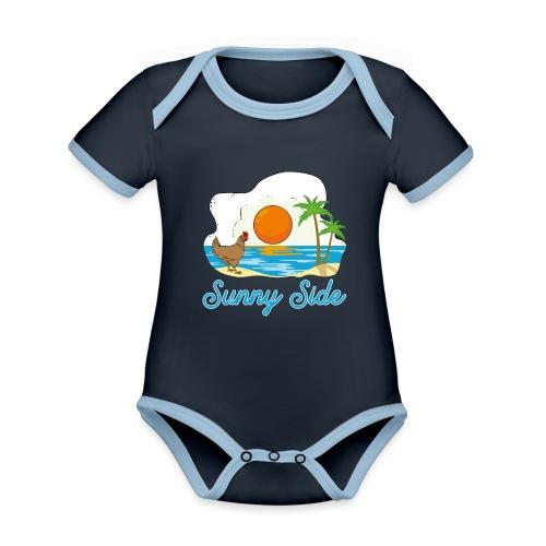 Sunny side - Body da neonato a manica corta, ecologico e in contrasto cromatico