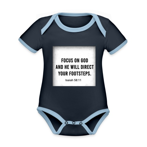 English Bible verse/Isaiah 58:11 - Ekologisk kontrastfärgad kortärmad babybody