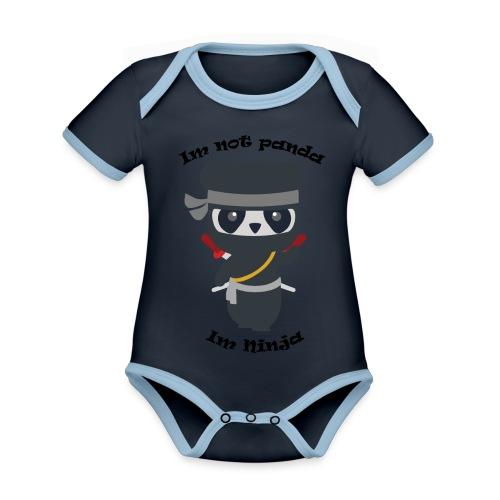 Non sono un Panda - Body da neonato a manica corta, ecologico e in contrasto cromatico