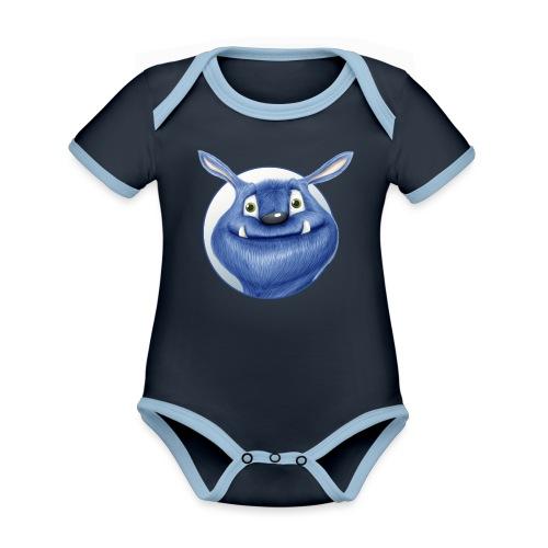 blaues Monster - Baby Bio-Kurzarm-Kontrastbody